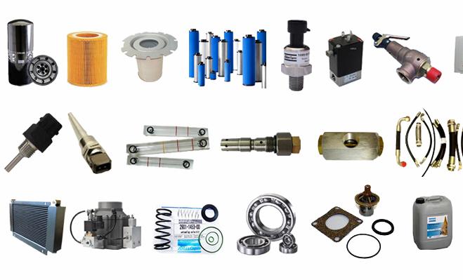 Chúng tôi cung cấp tất cả các phụ tùng của máy nén khí trục vít như: lọc dầu, lọc khí, lọc tách dầu, dầu máy nén khí, cảm biến, giàn tản nhiệt, van điện từ, thước dầu, khớp nối, vòng bi...